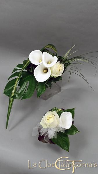bouquet-mariée-et-demoiselle-d-honneur-roses-callas-blanc