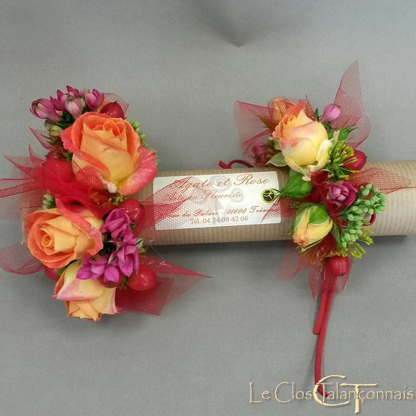 bracelets-de-mariage-en-roses-orange-et-bouvardia
