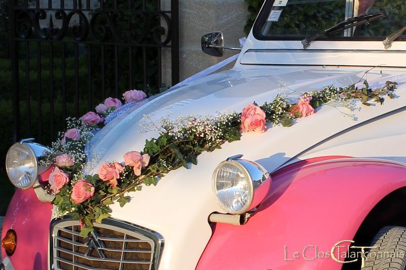 decoration voiture mariage gypsophile