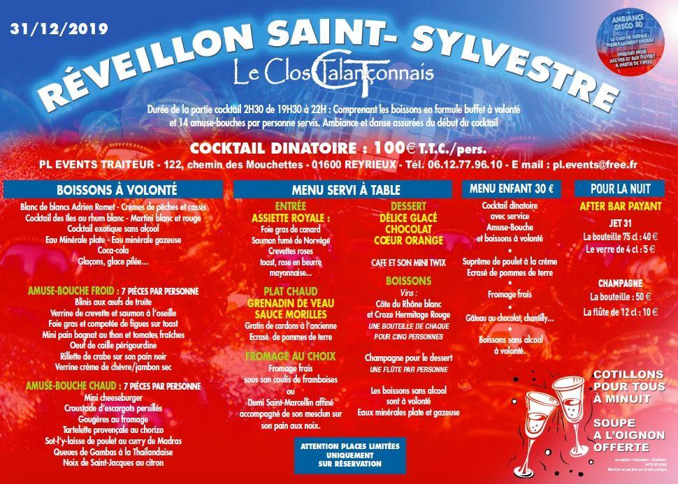 Réveillon Saint Sylvestre 2019 Trévoux Reyrieux Le Clos Talanconnais